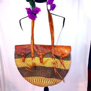 Vintage African leather trim 3 buckle market bag